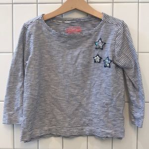 Crewcuts striped tee with sequin stars, VG UC, 4-5